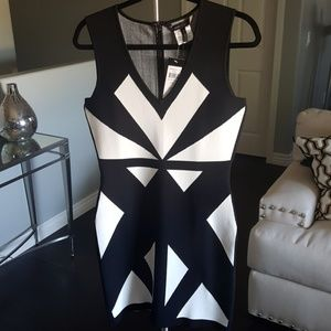 BCBG Maxaria Black and white bodycon dress